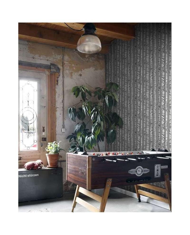 Papier peint rasch greenhouse troncs de boulot taupe et for Papier peint taupe clair