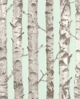 Papier peint Esta Home Greenhouse Troncs de boulot Vert menthe et gris 138890