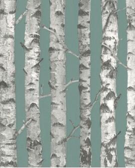 Papier peint Esta Home Greenhouse Troncs de boulot Vert grisé et gris clair 138891