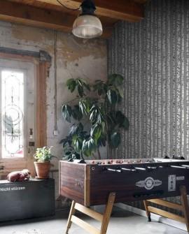 Papier peint Rasch Greenhouse Troncs de boulot Vert grisé et gris clair 138891
