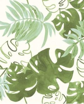 Papier peint Esta Home Greenhouse Feuilles tropicales Vert olive grisé 138888