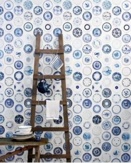Papier peint Studio Ditte Porcelain Bleu