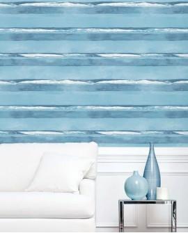 Papier peint Lutèce Jeux de Rayures 2 Rayure Bleu marine et blanc G67591