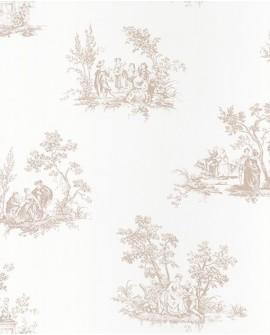 Papier peint Casadeco Toile de Jouy Fontainebleau Scène Bucolique Beige FONT81511103