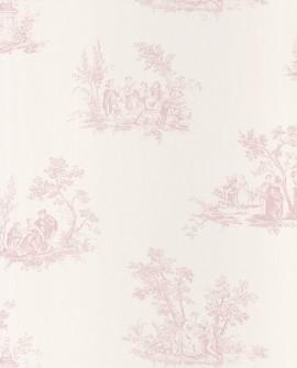 Papier peint Casadeco Toile de Jouy Fontainebleau Scène Bucolique Rose FONT81514101