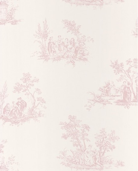 papier peint intiss toile de jouy rose. Black Bedroom Furniture Sets. Home Design Ideas