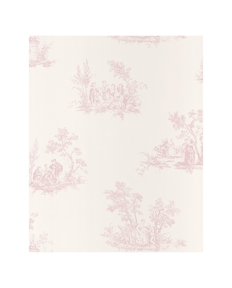 Papier Peint Rose à Pois Adhésif : Papier peint intissé toile de jouy rose