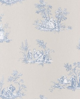 Papier peint Casadeco Toile de Jouy Fontainebleau Scène Bucolique Bleu FONT81516206