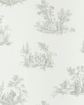 Papier peint Casadeco Toile de Jouy Fontainebleau Scène Bucolique Vert FONT81517105