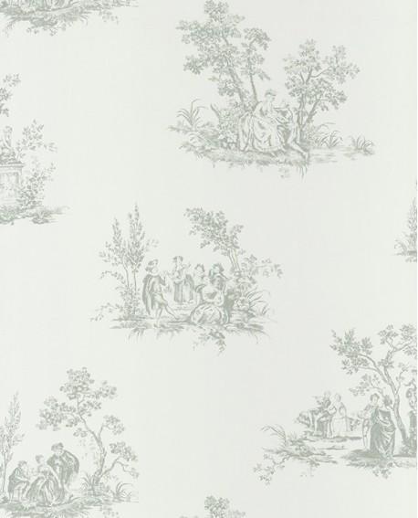 papier peint intiss toile de jouy vert amande. Black Bedroom Furniture Sets. Home Design Ideas