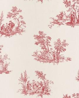 Papier peint Casadeco Toile de Jouy Fontainebleau Scène Bucolique Rouge FONT81518102