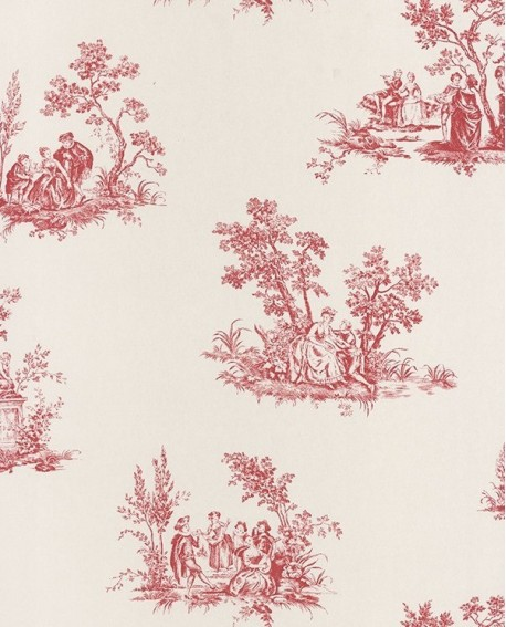 papier peint intiss toile de jouy rouge. Black Bedroom Furniture Sets. Home Design Ideas