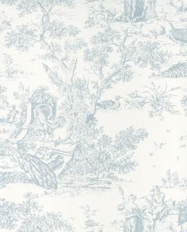 Papier peint Casadeco Toile de Jouy Fontainebleau Chinoiserie Bleu FONT81556102