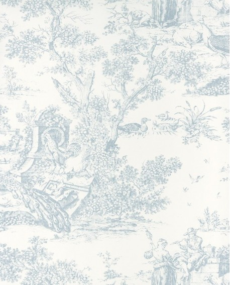 papier peint intiss toile de jouy bleu pastel. Black Bedroom Furniture Sets. Home Design Ideas