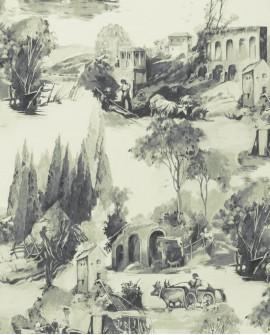 Papier peint Clarke & Clarke Colony Anastacia Charcoal W0080/01