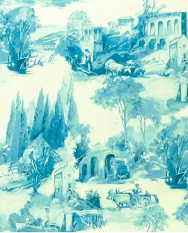Papier peint Clarke & Clarke Colony Anastacia Bleu de Delft W0080/03