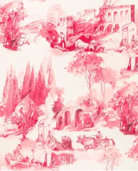 Papier peint Clarke & Clarke Colony Anastacia Framboise W0080/07
