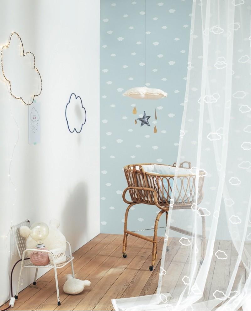 papier peint casadeco my little world nuages bleu mlw29756430. Black Bedroom Furniture Sets. Home Design Ideas