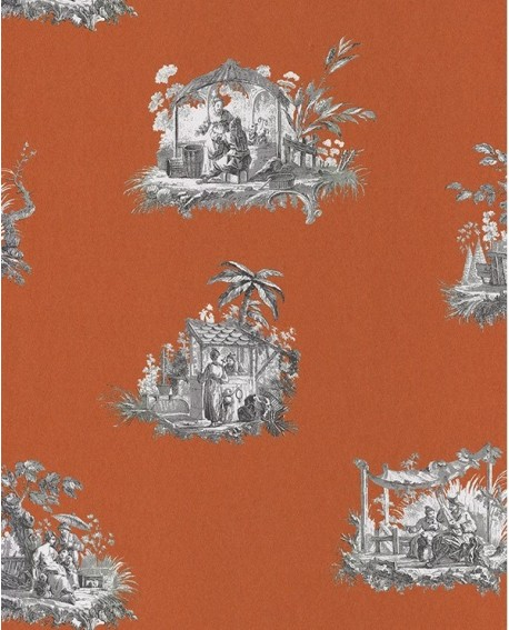 papier peint intiss toile de jouy gris fond orange. Black Bedroom Furniture Sets. Home Design Ideas