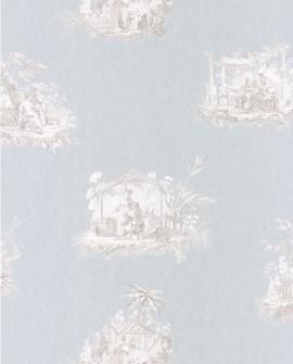 Papier peint Casadeco Toile de Jouy Fontainebleau Chinoiserie Gris fond bleu FONT81546102