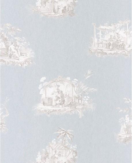 papier peint intissé toile de jouy gris fond bleu