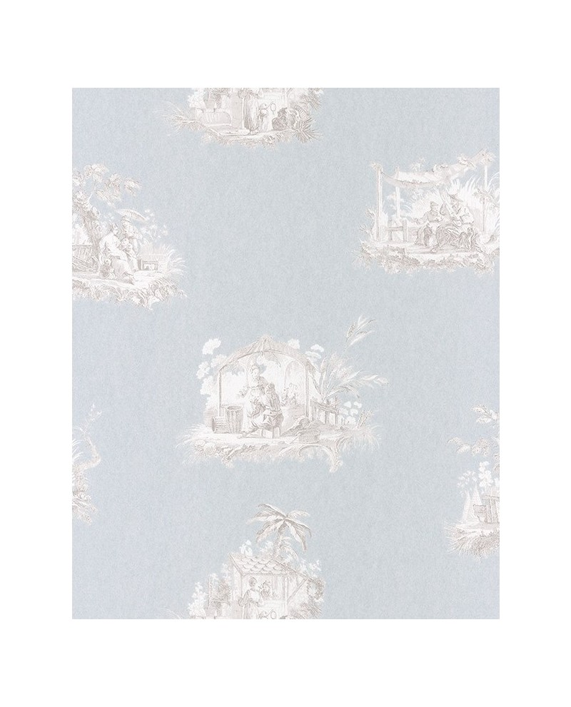 papier peint intiss toile de jouy gris fond bleu. Black Bedroom Furniture Sets. Home Design Ideas