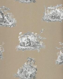 Papier peint Casadeco Toile de Jouy Fontainebleau Chinoiserie Gris fond lin FONT81542203