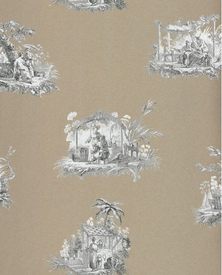 papier peint intiss toile de jouy gris. Black Bedroom Furniture Sets. Home Design Ideas