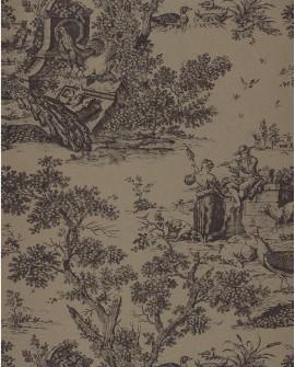 Papier peint Casadeco Toile de Jouy Fontainebleau Chinoiserie Beige Noir FONT81559503