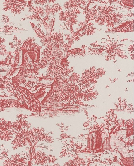 papier peint intiss toile de jouy bordeaux. Black Bedroom Furniture Sets. Home Design Ideas