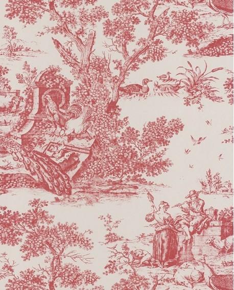 Papier peint intiss toile de jouy bordeaux - Papier peint toile de jouy rouge ...