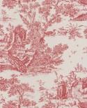Papier peint Casadeco Toile de Jouy Fontainebleau Chinoiserie Bordeaux FONT81558101