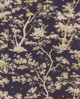 Papier peint Casadeco Toile de Jouy Fontainebleau Arbre Doré fond noir FONT81525205