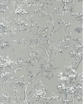 Papier peint Casadeco Toile de Jouy Fontainebleau Arbre Gris FONT81527103