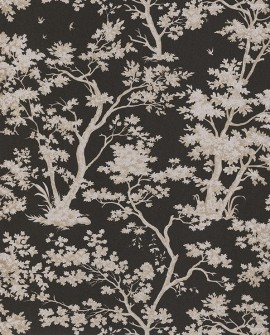 Papier peint Casadeco Toile de Jouy Fontainebleau Arbre Beige fond noir FONT81529502