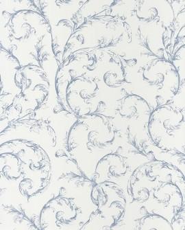 Papier peint Casadeco Toile de Jouy Fontainebleau Arabesque Bleu FONT81536204