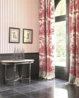 Papier peint Casadeco Toile de Jouy Fontainebleau Rayure Beige FONT81571102