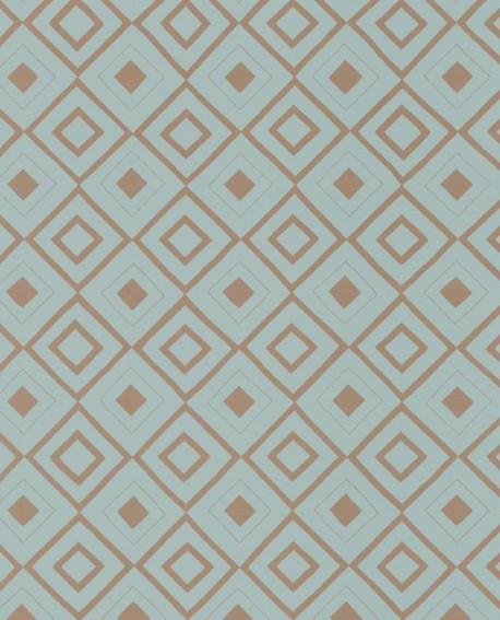 Papier peint géométrique Esta Home FAB Carré ethnique Bleu Vintage 128830