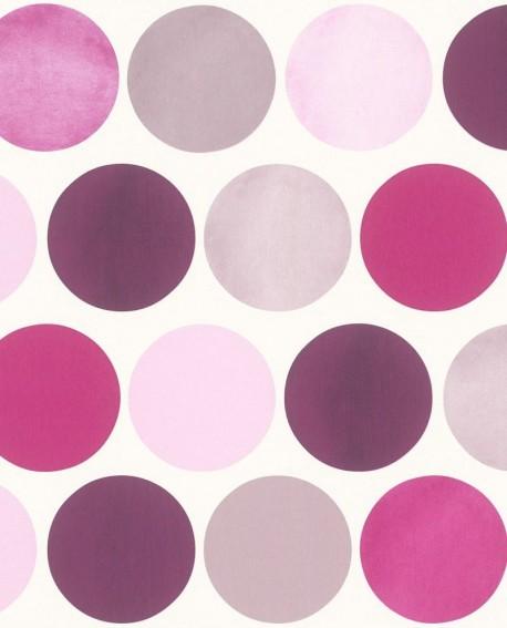 Papier peint Rasch FAB Grands pois Violet mauve 138860