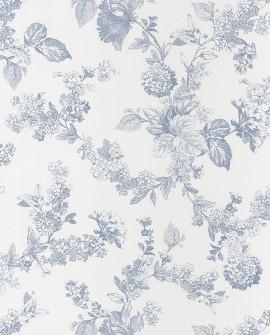 Papier peint Casadeco Toile de Jouy Fontainebleau Fleur gravure Bleu FONT81566202