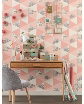 Papier peint Caselio Tonic Palm triangles Rose gris 69434224