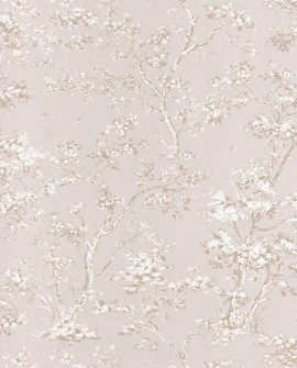 Papier peint Casadeco Toile de Jouy Fontainebleau Arbre Beige FONT81521101