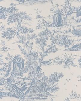 Papier peint Casadeco Toile de Jouy Fontainebleau Chinoiserie Bleu porcelaine FONT81556204