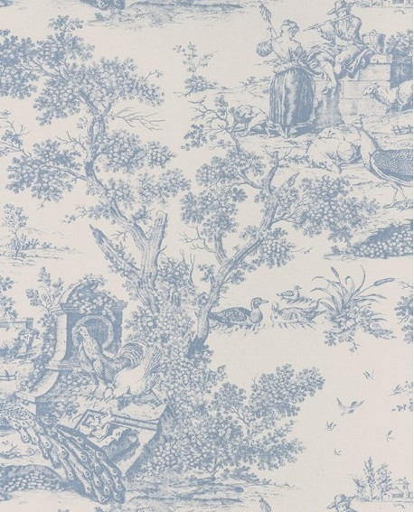papier peint intiss toile de jouy bleu porcelaine. Black Bedroom Furniture Sets. Home Design Ideas