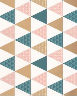 Papier peint Caselio Tonic Triangles Bleu pétrole cuivre 69444109