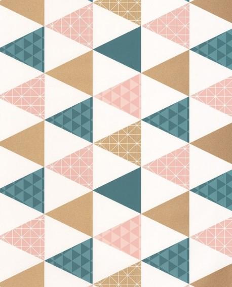 papier peint caselio tonic triangles bleu p 233 trole cuivre 69444109