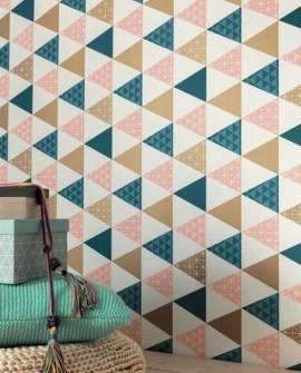 Papier peint Caselio Tonic Triangles Cuivre et beige 69441407