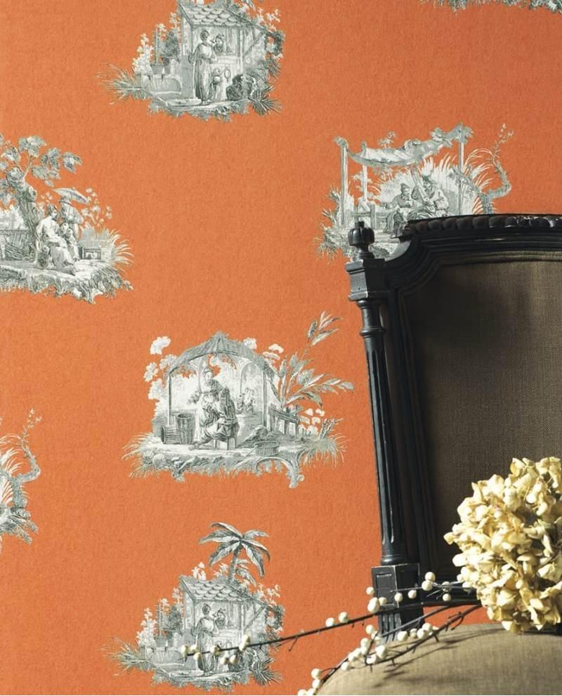 papier peint intiss toile de jouy gris fond orange. Black Bedroom Furniture Sets. Home Design Ideas