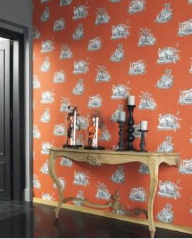 Papier peint Casadeco Toile de Jouy Fontainebleau Chinoiserie Gris fond orange FONT81543101