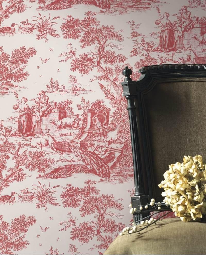 papier peint intiss toile de jouy bordeaux. Black Bedroom Furniture Sets. Home Design Ideas
